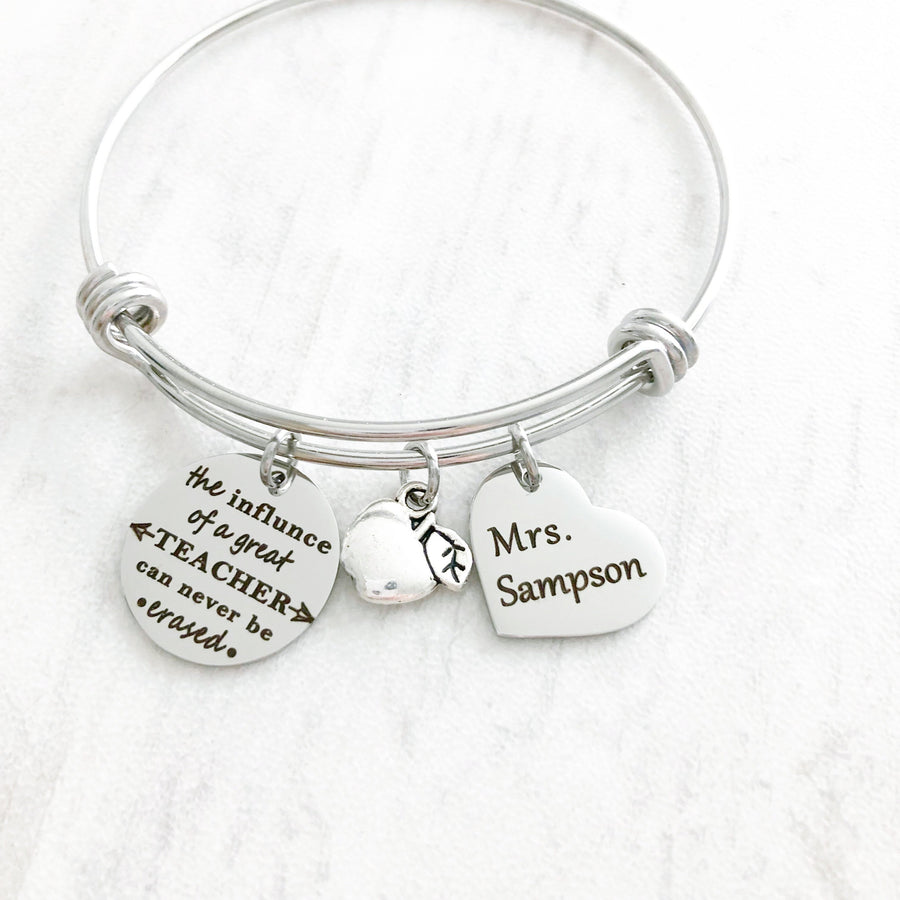 the influence of a great teacher can't be erased teachers charm bangle bracelet