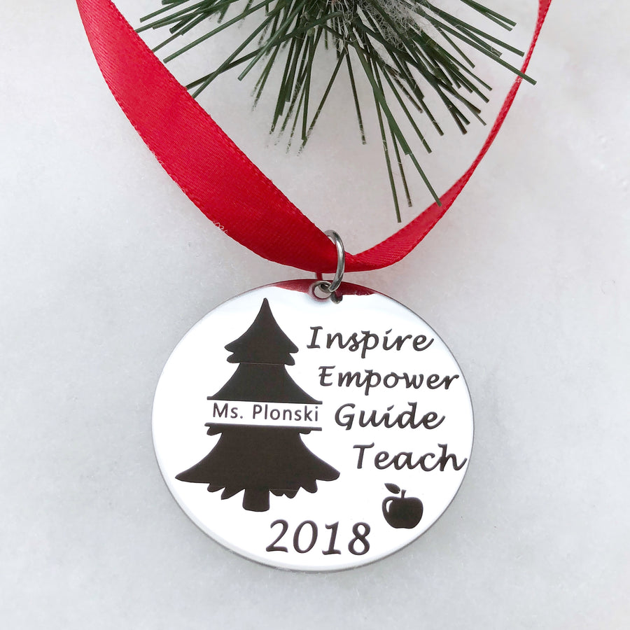teachers christmas tree ornament gift inspire empower guide teach