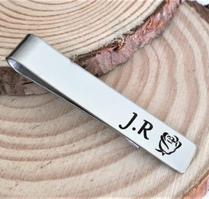Silver Initial Rose Tie Clip