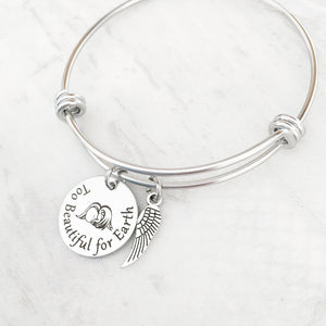 too beautiful for earth baby loss bangle bracelet