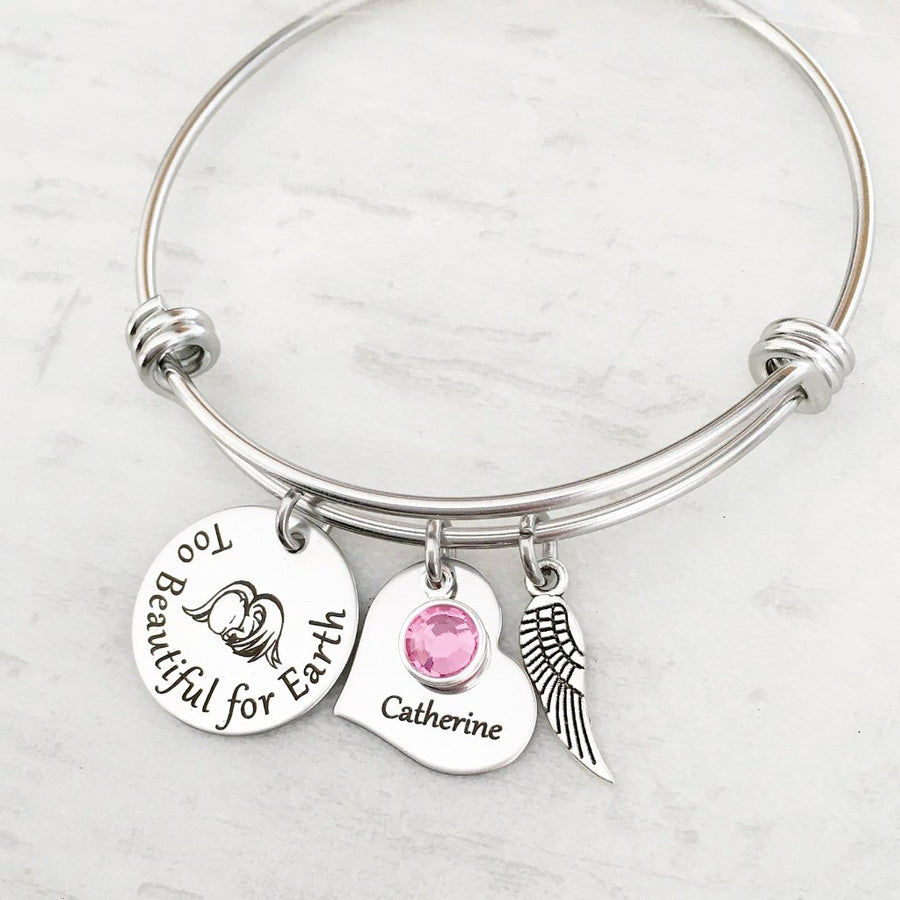 too beautiful for earth baby loss bangle with birthstone