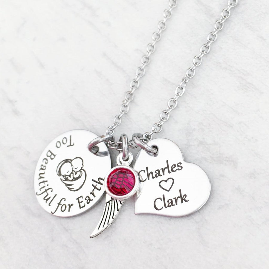 too beautiful for earth loss of twins charm necklace