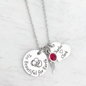 "Twin Miscarriage Necklace for Mom ""Too Beautiful for Earth"""
