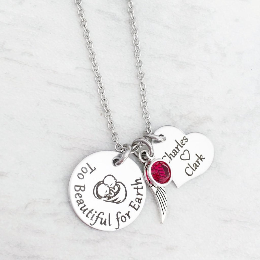 """Too Beautiful for Earth"" Silver Twin Miscarriage Charm Necklace"