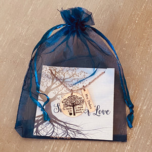 stamps of love blue organza gift packaging