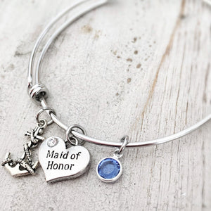 maid of honor heart tag anchor september birthstone charm bracelet wedding bridesmaid