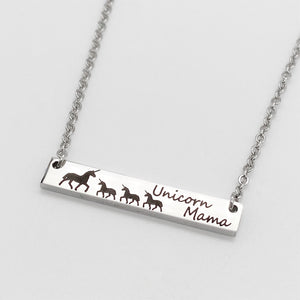 Silver horizontial bar necklace with black engraved unicorn mom with babies