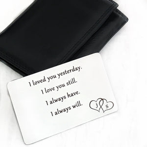 anniversary gift for him wallet card with double heart initails birthday christmas boyfriend