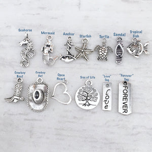 beach theme cowboy chic western country open heart love forever tree of life charms