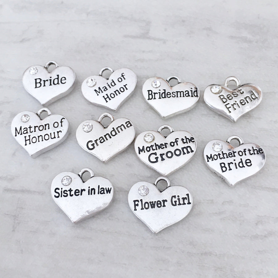 bridesmaid maid of honor grandma best friend mother of the grrom bride sister in law flower gifl heart title tags