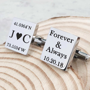 Wedding location coordinates with bride and groom initial silver sqaure cufflinks