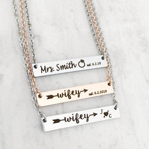 Christmas Gift for Finacee bride-to-be Mrs. Smith and wifey bar necklace
