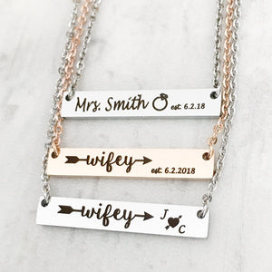 wifey bar necklace for new brides