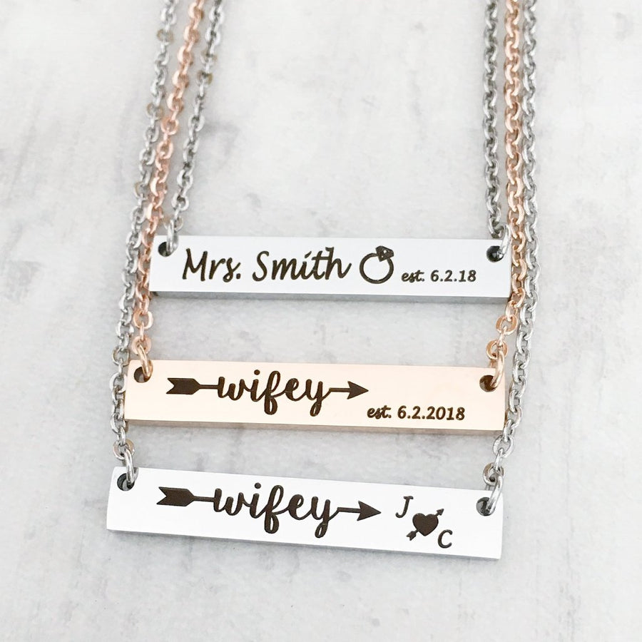 silver and rose gold bar necklace for new brides