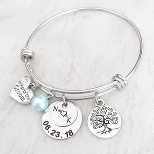 Newlywed Initials and Wedding Date Bracelet Gift for Mother of the Bride and Groom