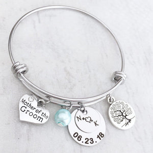 Newlywed Initials and Wedding Date Bracelet Gift for Mother of the Bride and Groom details