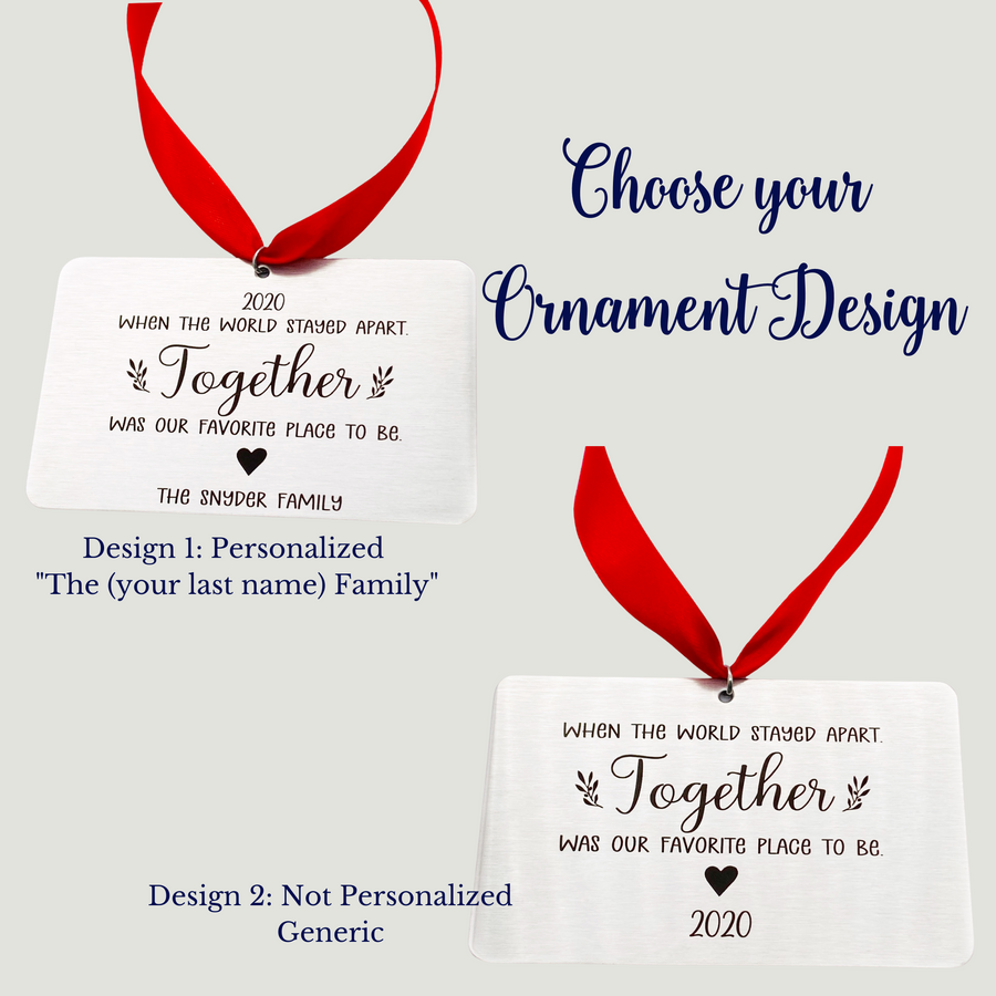 design 1 personalized with the family name and a picture of design 2 showing no personalization. no family name.