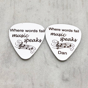 where words fail music speaks silver stainless steel guitar pick