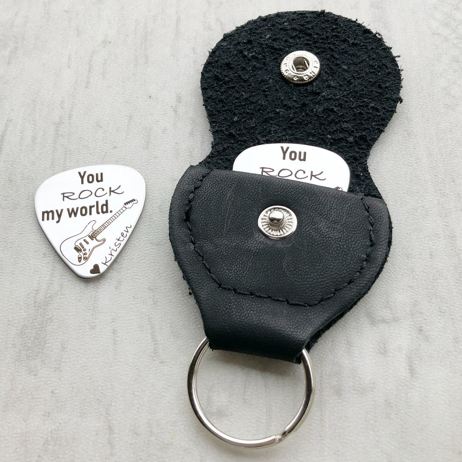 You rock my world silver stainless steel guitar pick with black leather case