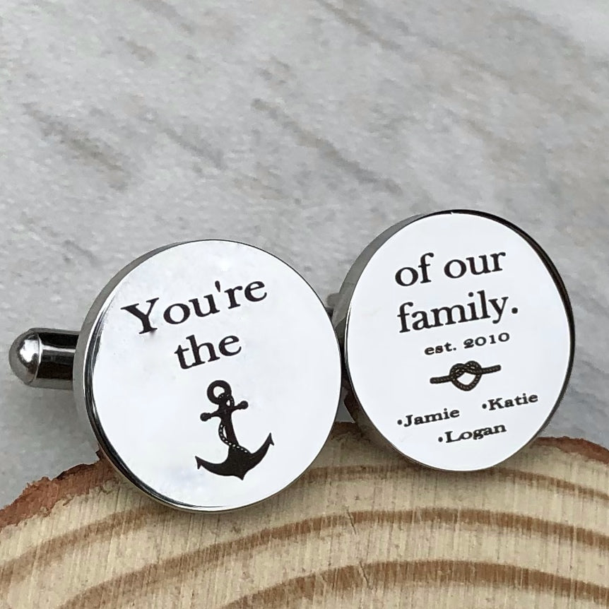 You're the anchor of our family silver circle cufflinks with family established year and childrens names