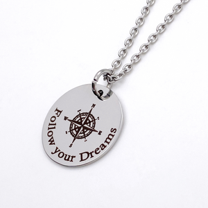 "Silver Compass Inspirational Necklace ""Follow your Dreams"""