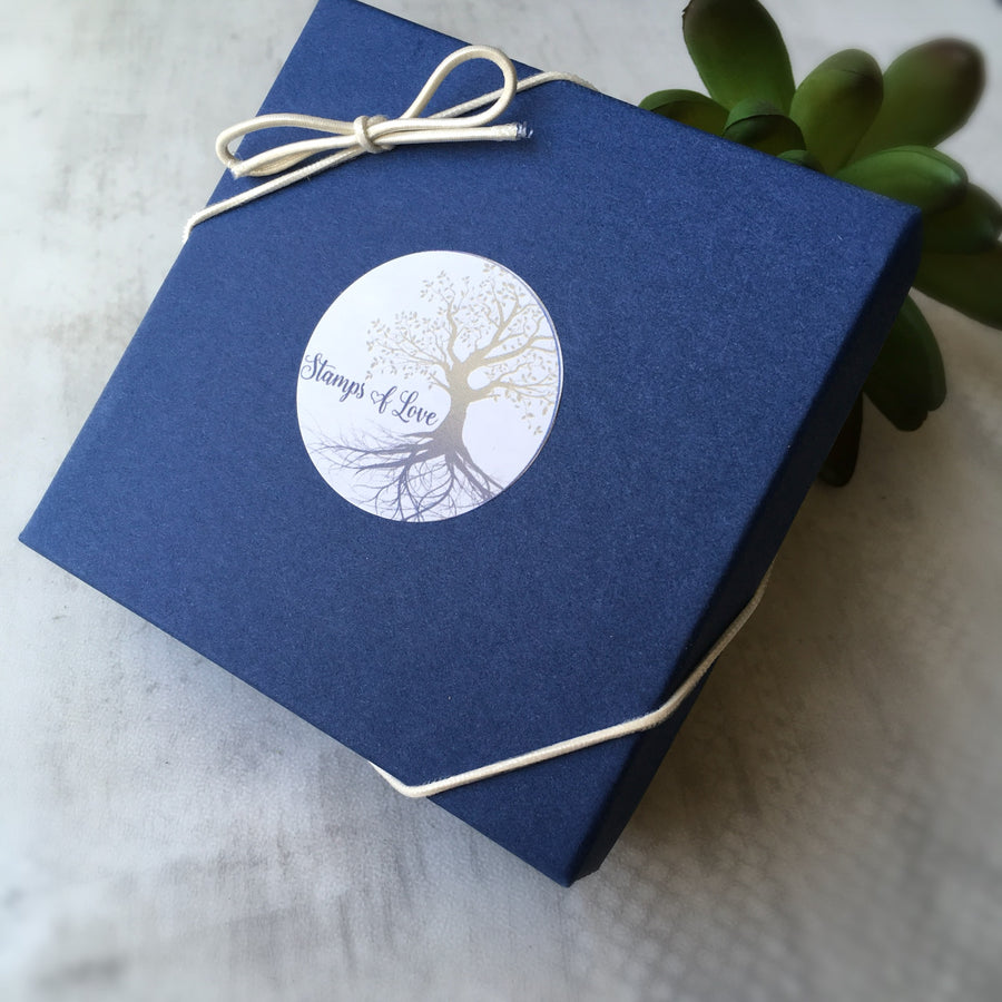blue gift box from stamps of love