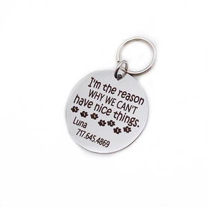 "Silver stainless steel dog collar id tag with black engraving ""You are the reason why we can't have nice things with a picture of paw prints, pets name and telephone number"