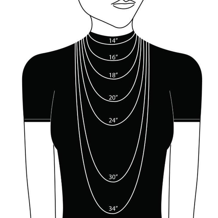 graphic of woman wearing different necklace length chart