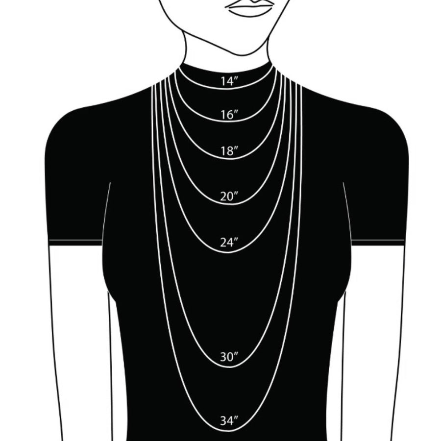 cartoon showing the size of different necklace lengths