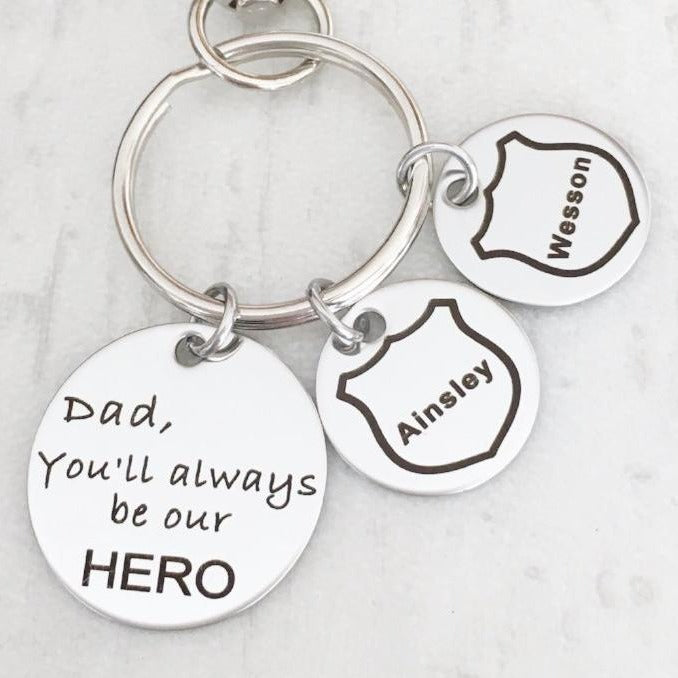 Dad You'll Always be my Hero keychain with children's names police officer gift