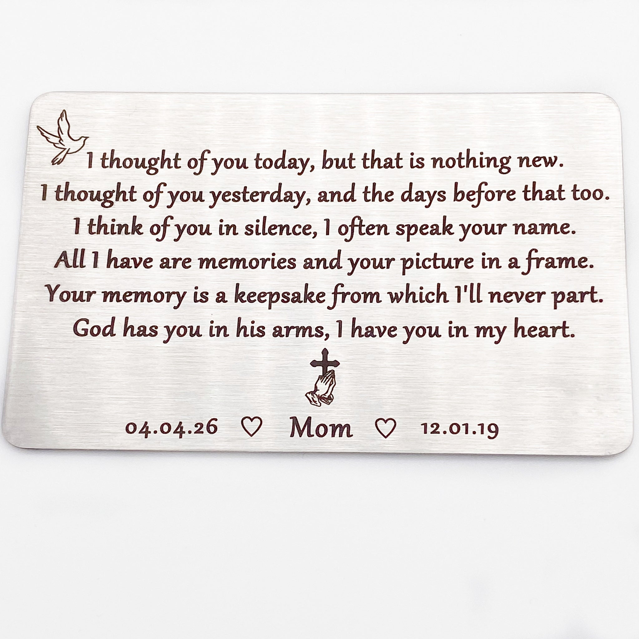 Personalised Loved You Yesterday. Heart Insert Keepsake Metal Wallet Card Gift