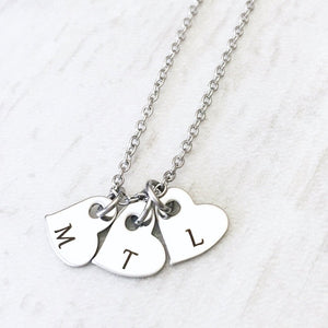Dainty Silver Mother's Initial Heart Necklace Christmas gift for mom
