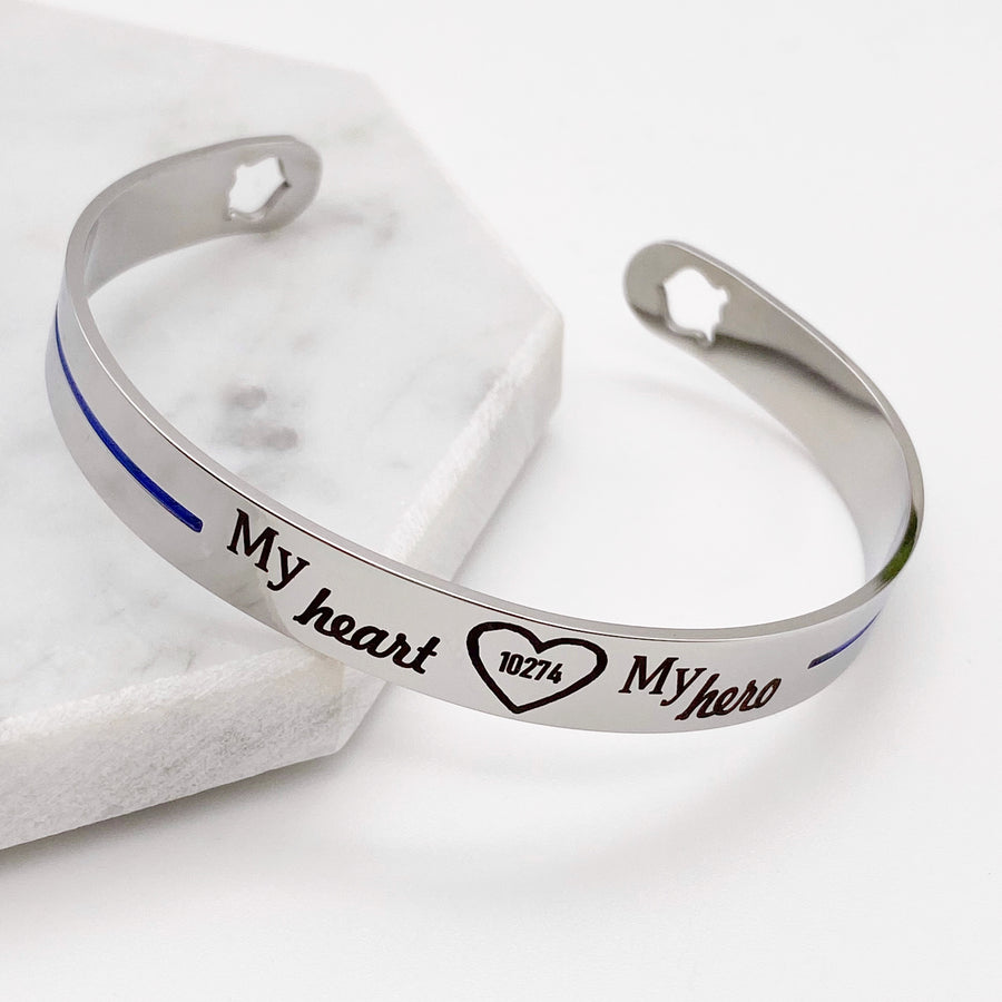 Police thin blue line cuff bracelet with badge number engraved with my heart my hero