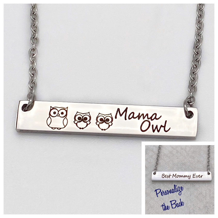Personalized childrens names or short message on back of mothers bar necklace