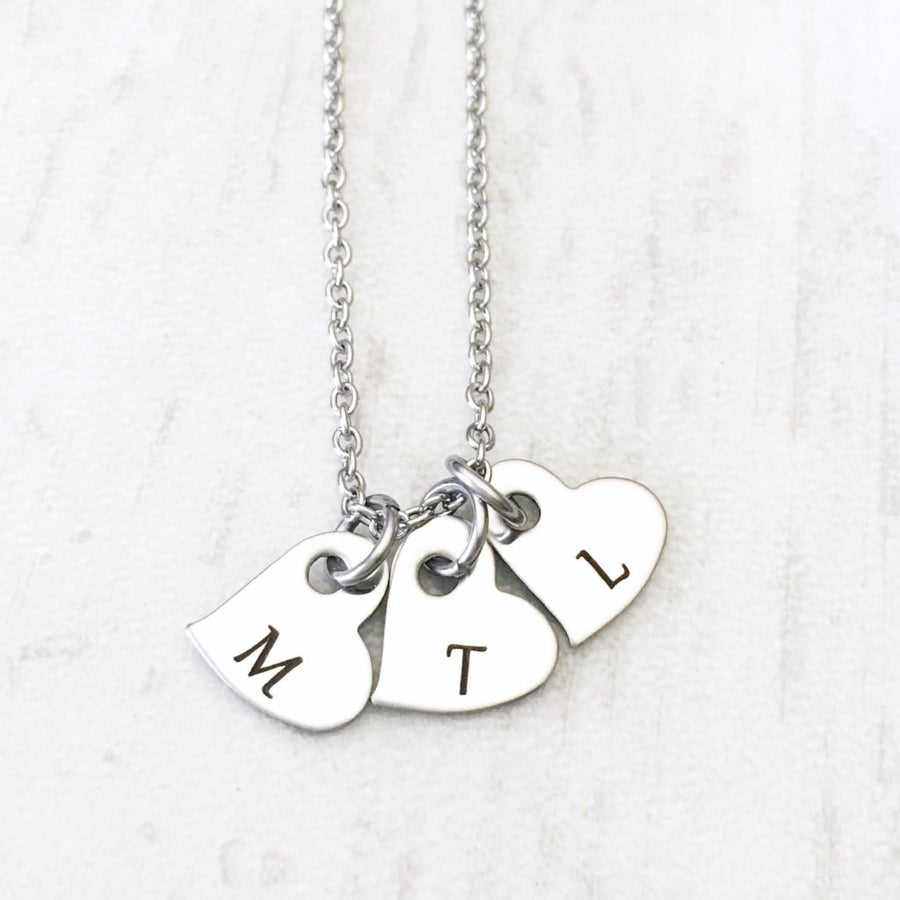 Dainty Silver Mother's Initial Heart Necklace Cable Chain