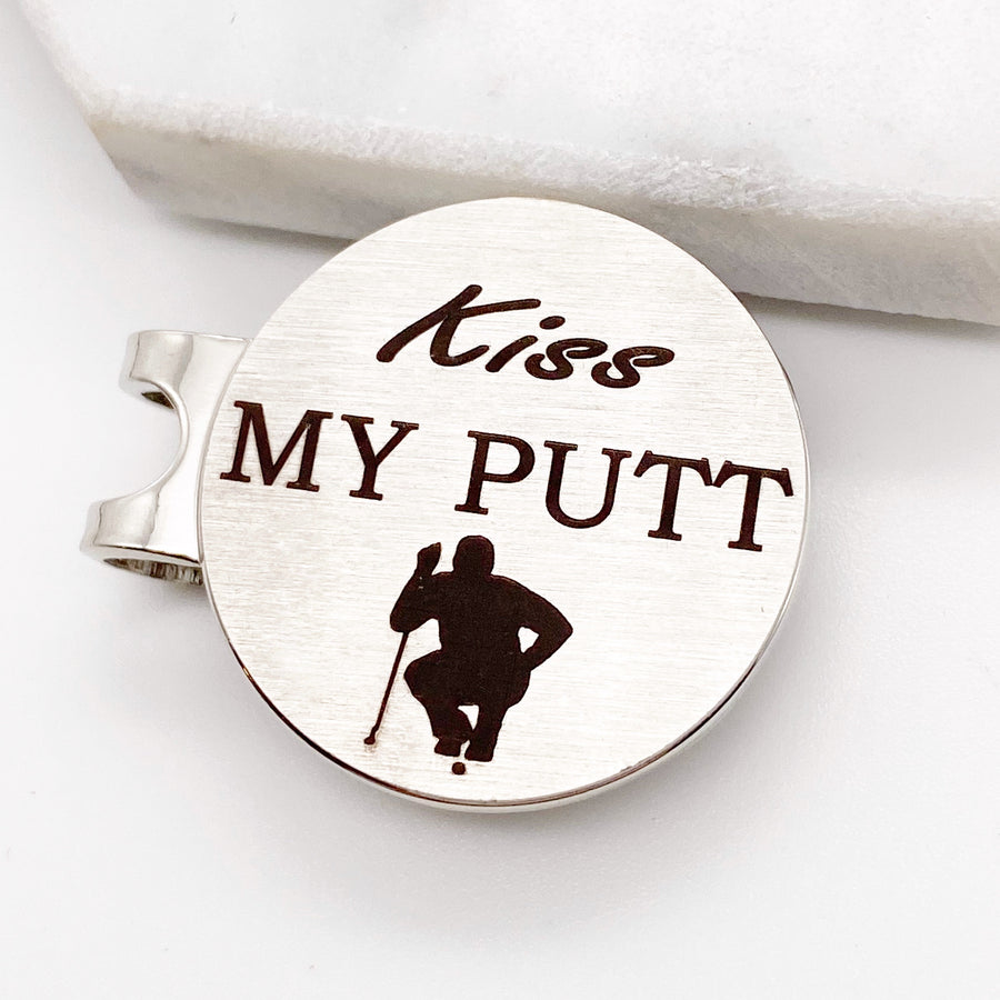 Kiss my Putt personalized unique golf ball marker with magnetic hat clip gift for men