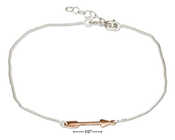 Rose Gold Tone Arrow Anklet - Austen & Parker
