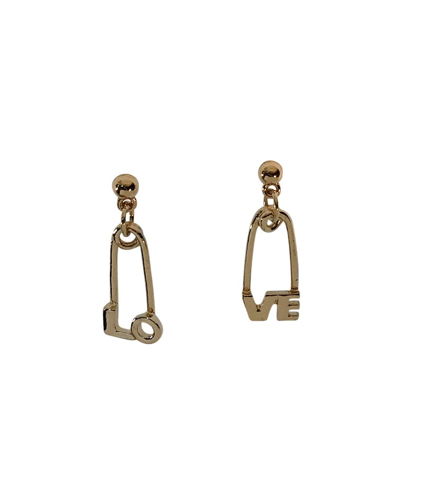 Gold Love Safety Pin Earrings