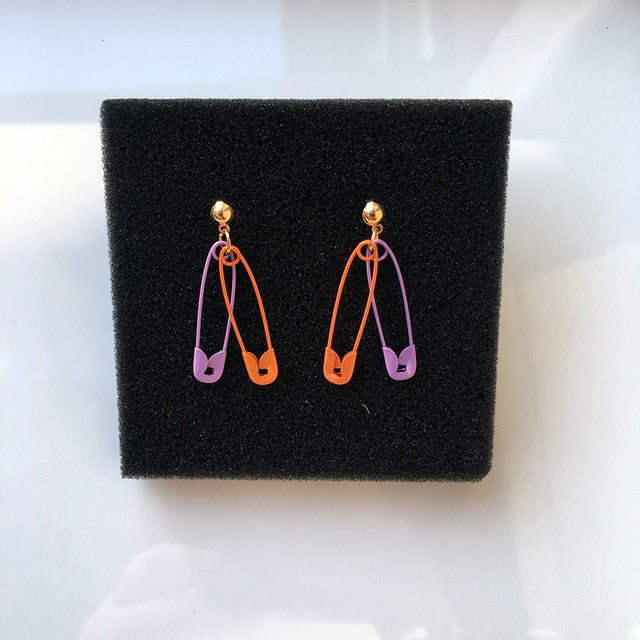 Multicolor Safety Pin Earrings