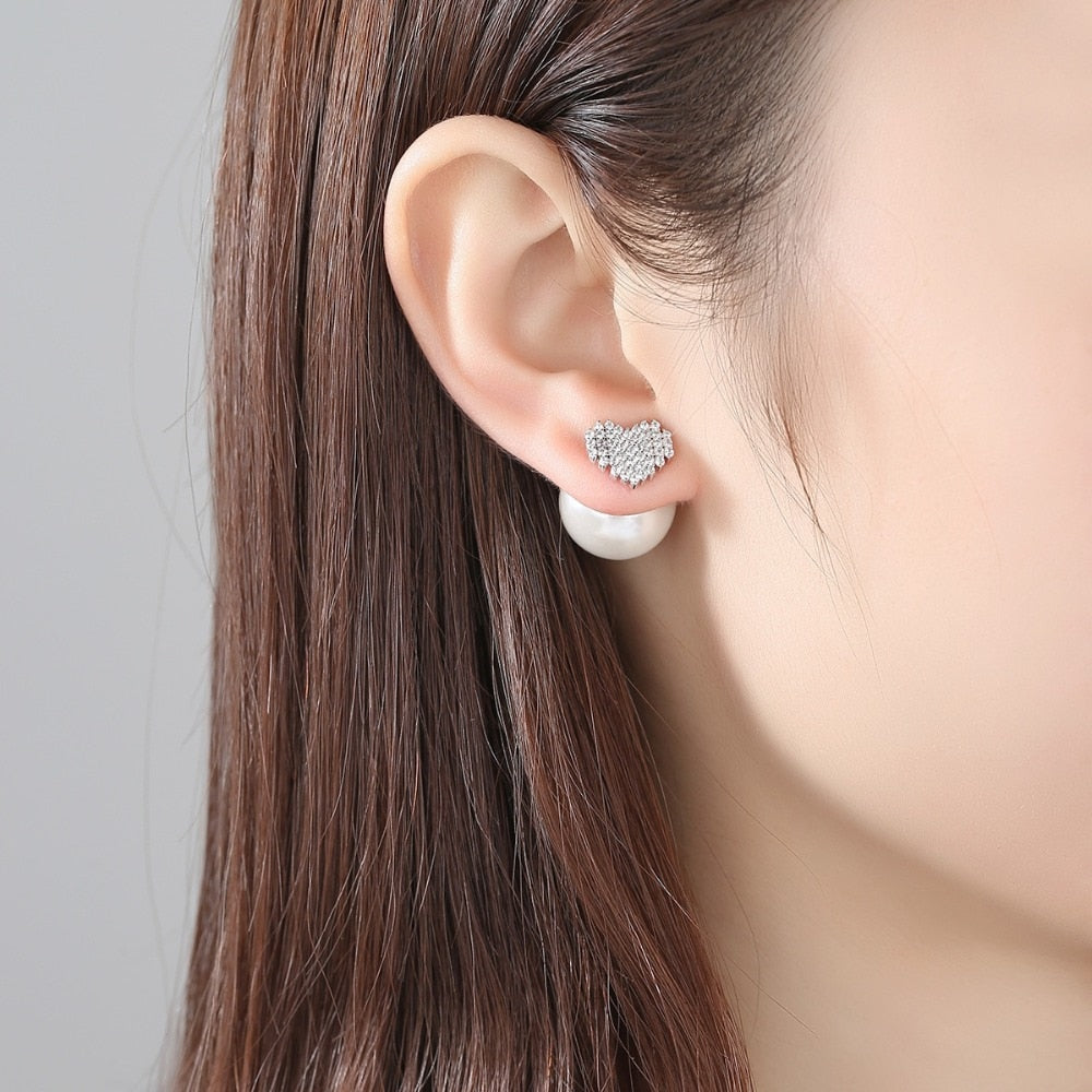 Simulated-Pearl Stud Earrings