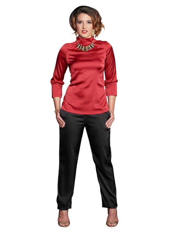 Shirwani Collar Top Ruby Red