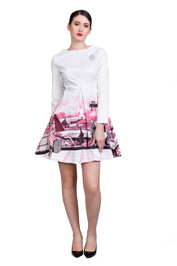 Long Sleeves Front Pleated Cotton A-Line Dress Pink