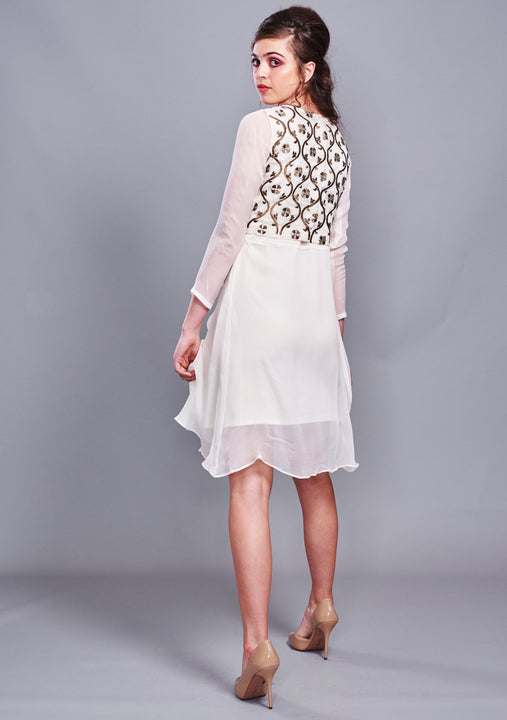 Off-White Chiffon Dress Bronze Embroidered Vest