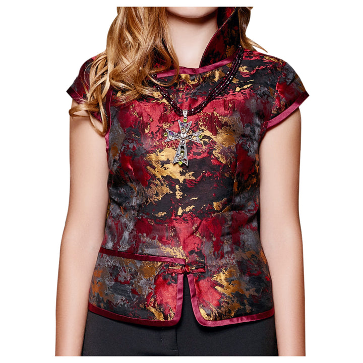 Brocade Vest Ruby Red