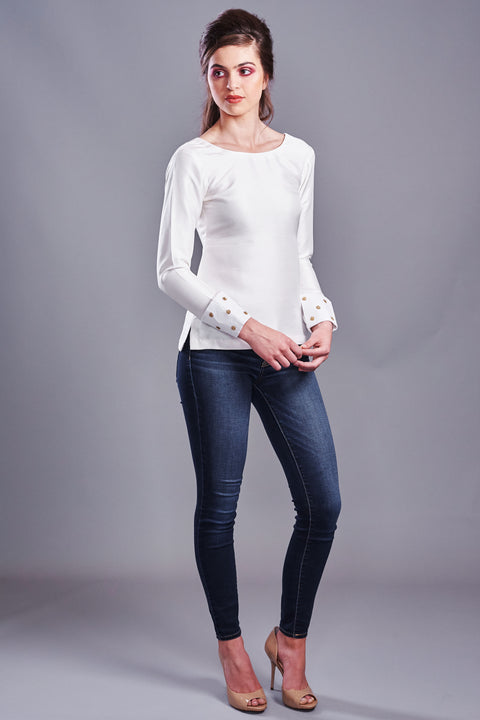 Long Sleeves Silk Top