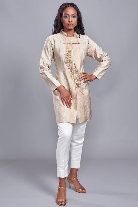 Shirwani Style Brocade Coat Gold