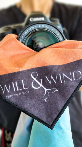 Wiping camera lens with multi towel