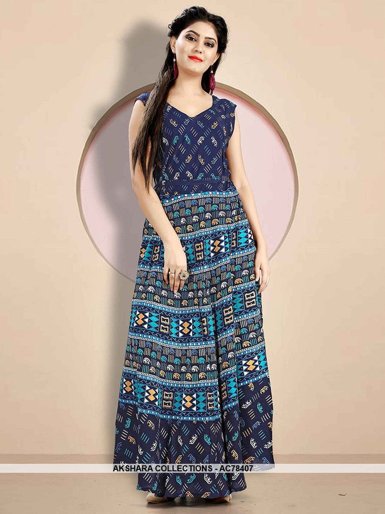 AC78407 - Navy Blue Color Rayon Readymade Kurti