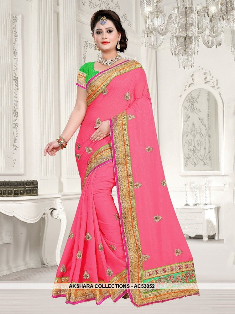 AC53052 - Peach Color Silk Saree