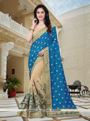 AC53226B - Blue and Cream Color Silk Half N Half Saree
